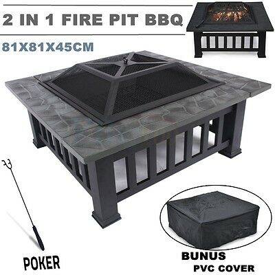 Hot Fire Pit BBQ Table Grill Garden Patio Home Camping Heater Fireplace Brazier