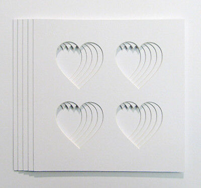 5 Pack of   4 Heart Shaped Photo Mounts to Fit  8x8 inch  frames