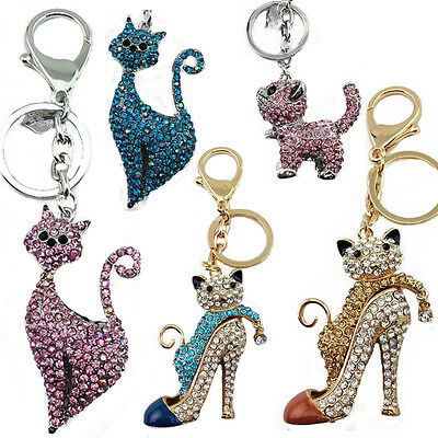 New Ladies Girls Cat Kitten DIAMANTE Keyring Bag Charm Key Chain Gift Animal