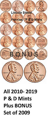 2010-2018 P&D BU Lincoln Shield Pennies/Cents, See Promotion Free SEO