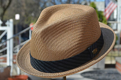 Quality Summer Men's Straw Mesh Porkpie Fedora Stingy Brim Dress Hat 4 Colors