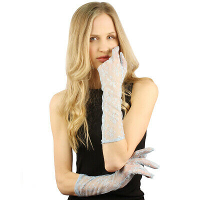 """Lovely Victorian Floral Lace Dressy Full Elbow Evening 15"""" Party Gloves"""