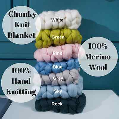 Chunky Knit Blanket Throw Soft Rug Sofa Bed Lounge Decorator Knitted Small Size