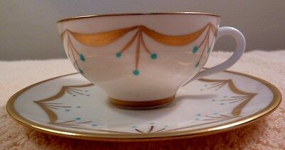 Antique art deco demi cup and saucer - gold garland, turquoise beading