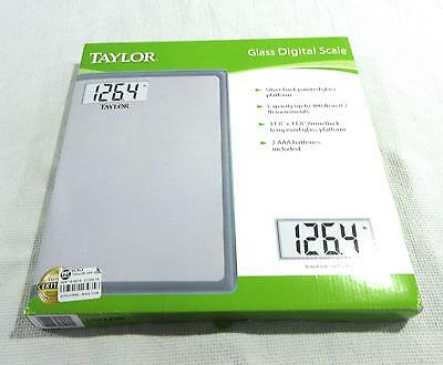 NEW Taylor Glass Digital Scale #7558ES Silver Back Painted Glass