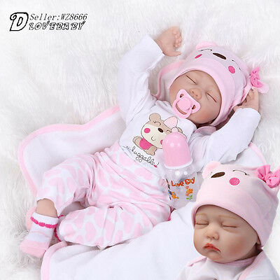 22''Handmade Reborn Silicone Baby Girl Doll Vinyl Newborn Boy Sleeping Dolls