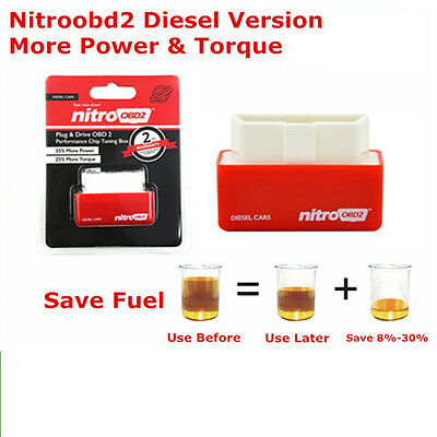 Free Shipping Red Plug Drive NitroOBD2 More Power ECU Chip Tuning Box For Diesel