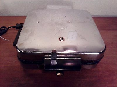 Lot of 2 Waffle iron griddles vintage General Electric &  Super - Art Deco Style