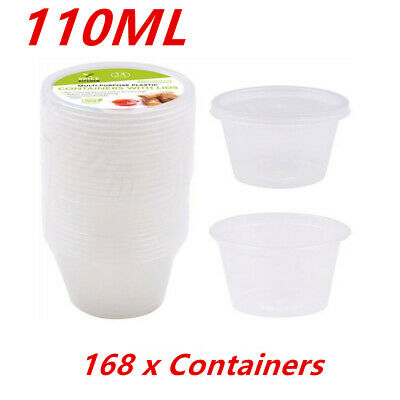 168 X Dipping Sauce Plastic Containers With Lids Restaurant Take Away Picnic Fww