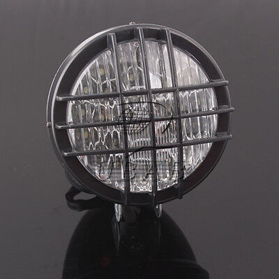 """Retro Black 5"""" LED Universal ABS Motorcycle Grill Headlight Front Light Lamp"""