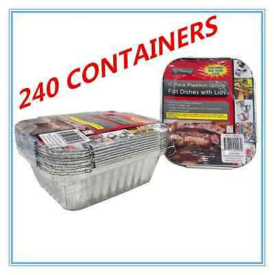 240 X Foil Containers With Lid - Birthday Party, Wedding, Event, Restaurant