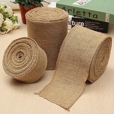 10M Hessian Jute Burlap Ribbon Vintage Wedding Table Runner Chair Decoration