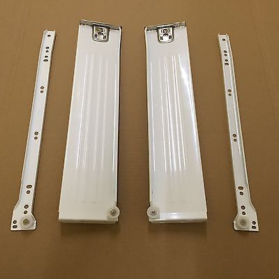 Kitchen Metal Drawer Box Sides / Kitchen Roller Runners (all sizes) White/Silver