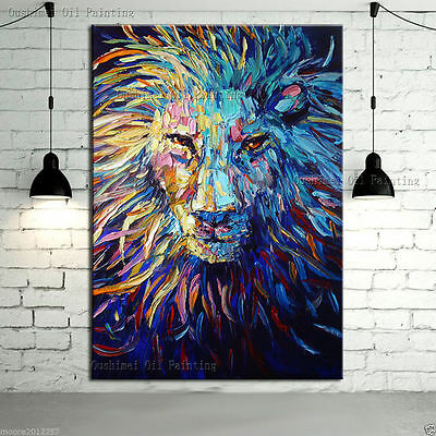 Bright-coloured lion On Canvas large Art Oil Painting Wall Decor ( framed )