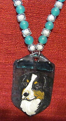 Greater Swiss Mountain Dog hand painted on fused glass pendant/bead/necklace