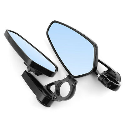 """Pair 7/8"""" 22mm CNC Aluminum Motorcycle Bar End Rearview Mirrors Black 180° MA553"""