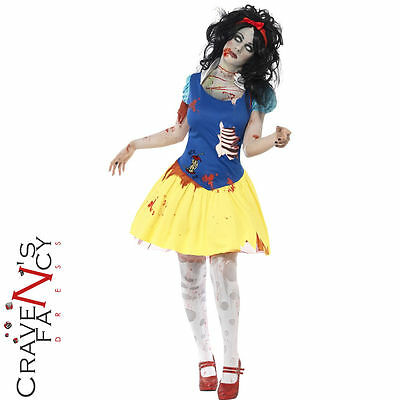 Ladies Zombie Snow Fright White Costume Womens Halloween Fancy Dress Fairytale