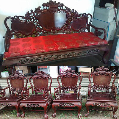5pc Antique Kint Yick Rosewood Furniture Sofa Setee Side Chairs Carved Dragons