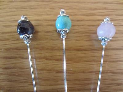 THREE LONG Tibetan Vintage Style GEMSTONE Hat Pins 6 Inches And Pin Protector