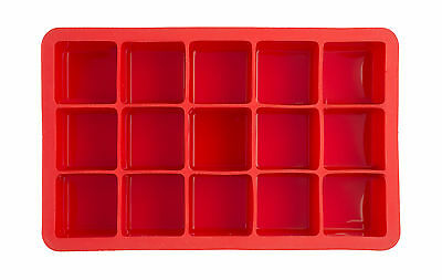 Epicurean Barware Classic Square Cube Ice Tray Mould Makes 15 Red Silicone Drink