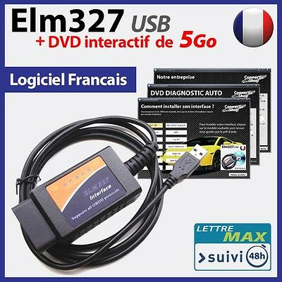 Interface de diagnostic ELM 327 USB OBD2 + DVD INTERACTIF de 5 Go