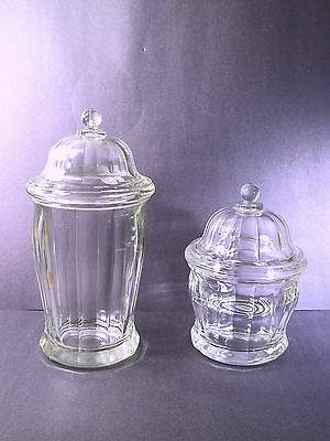 2 Graduated Drug Store Apothecary Jars W/lids - Panel Pattern - Indiana Glass Co