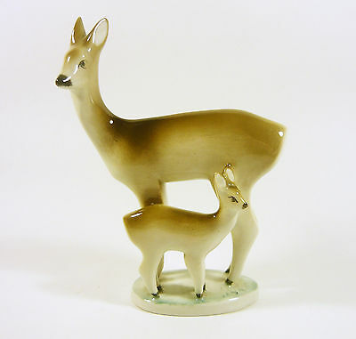 """Zsolnay, Deer Mother With Her Fawn 7"""", Vintage Handpainted Porcelain Figurine !"""