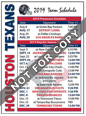 2017 Houston Texans Football Schedule Magnet - NFL (High Quality Magnet)