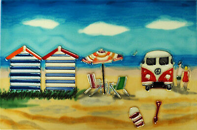 Day at the Beach Ceramic Wall Art 30x20cm Plaque Tile Picture Decorative YH Arts