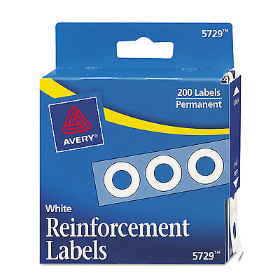 """Avery Dispenser Pack Hole Reinforcements 1/4"""" Dia White 200/Pack 05729"""