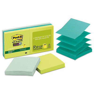 Post-it Pop-up Recycled Notes in Bora Bora Colors 3 x 3 90-Sheet 6/Pack R3306SST