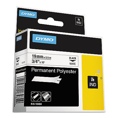 "DYMO Rhino Permanent Poly Industrial Label Tape 3/4"" x 18 ft White/Black Print"