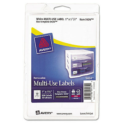 Avery Removable Multi-Use Labels 1 x 1 1/2 White 500/Pack 05434