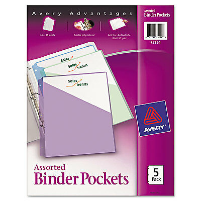 Avery Binder Pockets 3-Hole Punched 9 1/4 x 11 Assorted Colors 5/Pack 75254