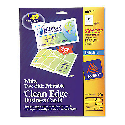 Avery Two-Side Printable Clean Edge Business Cards Inkjet 2 x 3 1/2 White 200