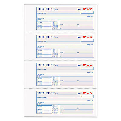 Tops Money/Rent Receipt Books 2-3/4 x 7 1/8 Three-Part Carbonless 100 Sets/Book