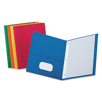 "Oxford Twin-Pocket Folders with 3 Fasteners Letter 1/2"" Capacity Assorted 25/Box"