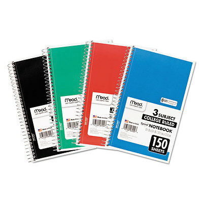 Mead Spiral Bound Notebook Perforated College Rule 9 1/2 x 6 White 150 Sheets