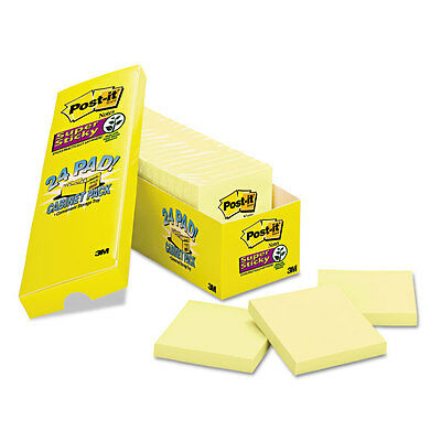 Post-it Notes Super Sticky Canary Yellow Note Pads 3 x 3 90-Sheet 24/Pack