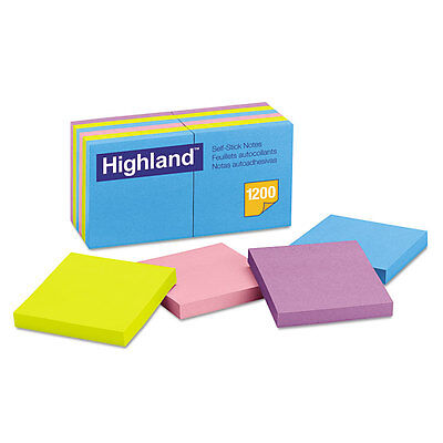 Highland Self-Stick Notes 3 x 3 Assorted Bright 100-Sheet 12/Pack 6549B