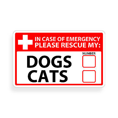 Dog Cat Emergency Pet Alert 911 Rescue Window Sticker First Rescue FIRE Safety