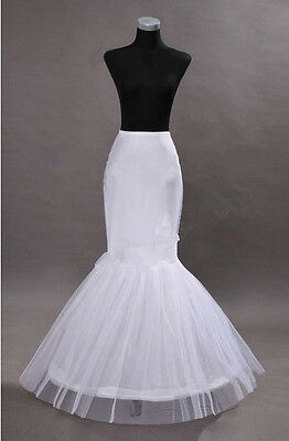 NEW Mermaid White 1-Hoop Wedding Dress Gown Crinoline Petticoat Skirt Slip