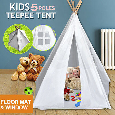 Kids Children Home Canvas Teepee Pretend Play Tent Playhouse Tipi Outdoor