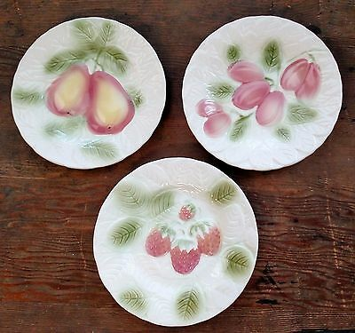 Salins Les Bains Three French Majolica Plates Fruit Strawberry Pear Some Flaws