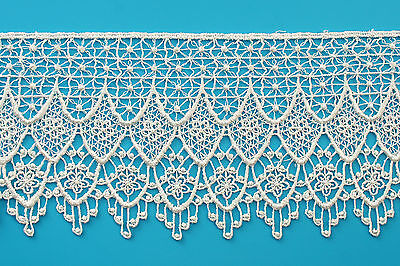 """Kiddo 4.25"""" Off White Floral Guipure Venice Lace Trim by Yard Sewing Crafts"""