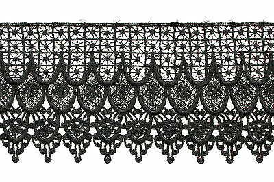 """Kiddo 4.75"""" Black Floral Guipure Venice Lace Trim by Yard Sewing Crafts"""