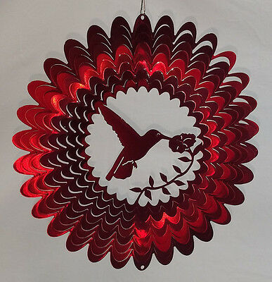 "Red Hummingbird Swirly Metal Wind Spinner 12"" X 12"" FREE SHIPPING FAST!"