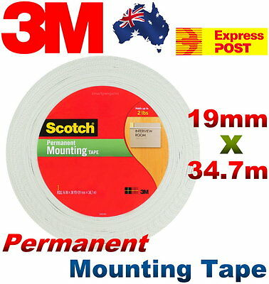 NEW 3M Scotch Polyurethane Permanent Mounting Tape Double Sided - 19mm x 34.7m