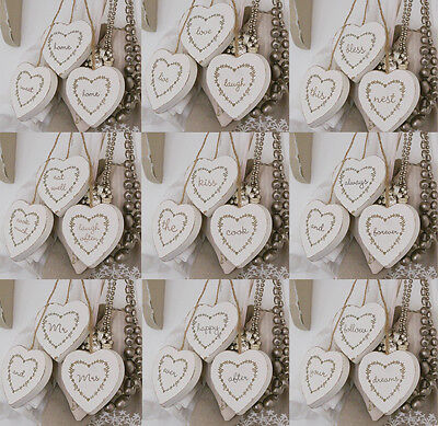 Set Of Three White Wooden Hanging Hearts Shabby Chic Home Decoration Wedding