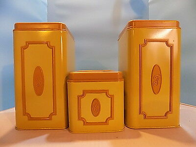 Vintage Echo Yellow Tin Cannister Set
